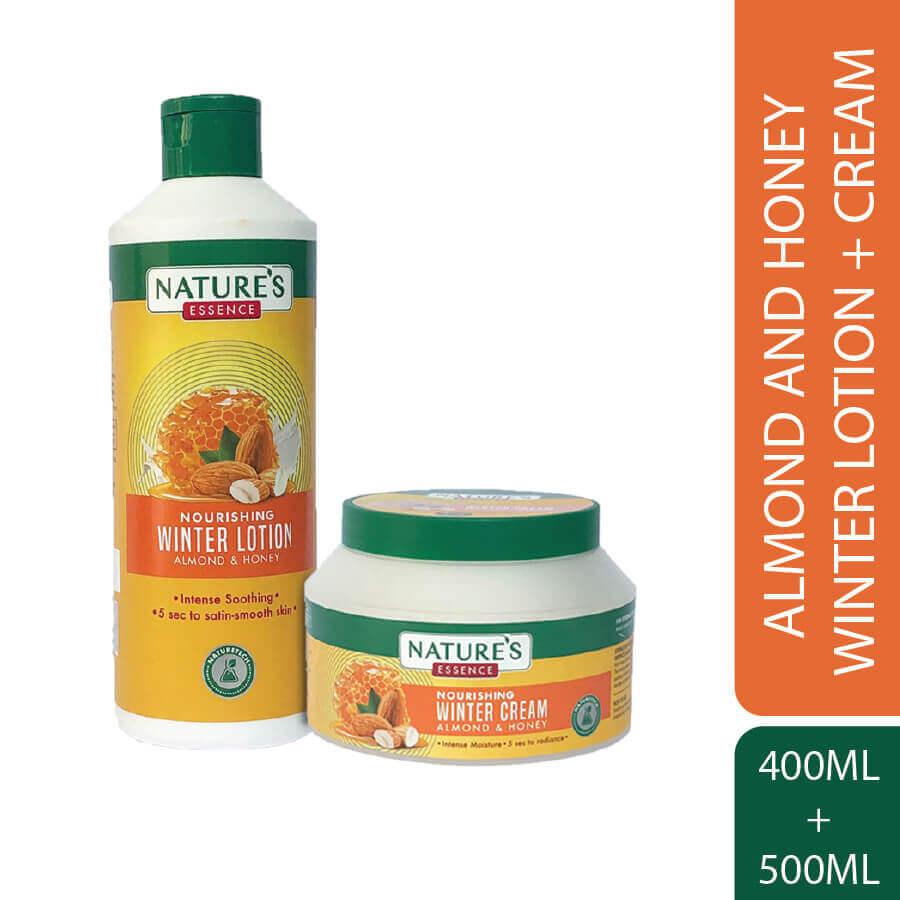 Nourishing Winter Cream 500 ml & Lotion 400 ml Almond & Honey Pack of 2